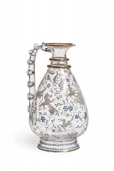 Enamelled crystal pitcher by Baccarat, France 1878