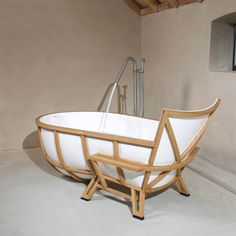 Daring design in the form of American white oak and marble composite seen at Milan Design Week