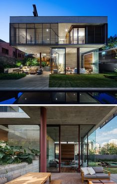 Una Architects Have Designed A New Concrete And Glass House In Sao Paulo Modern Glass House, Glass House Design, Container House Design, Modern Floor Plans, Patio, Backyard, Sims House, Facade House, Modern Exterior