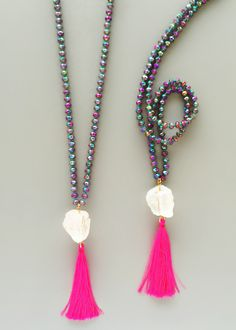 Galaxy Quartz Neon Tassel Necklace – Pree Brulee