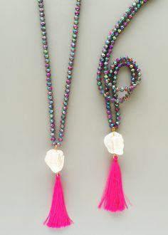 Galaxy Quartz Neon Tassel Necklace – Pree Brulee