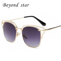 Beyond Star New Fashion Women Sunglasses coating Mirror Glasses Metal Cat Eye Sunglasses Women Brand Designer Oculos 400UV 9080