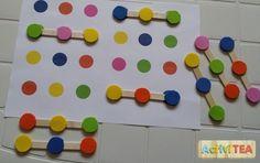 Palitos con círculos de goma eva. Lógica