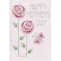 More details on Stitching Cards Mother's Day Roses Mothers Day Roses, Mothers Day Cards, Embroidery Cards, Embroidery Patterns, Hand Embroidery, Stitching On Paper, Sewing Cards, Card Patterns, Crafts