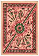 Playing Cards 1 Swap Card Old Antique Wide Square Corner GEOMETRIC ART FLOWERS 2