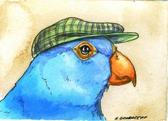 Blue Parakeet with hat Original ACEO Painting by poordogfarm, $12.00