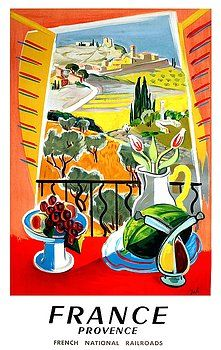 1945 France Provence Travel Poster,france,provence,Mediterranean,french travel,travel poster,vintage travel,french tourism,railways,france travel,poster art,france national railroads,french painting,french landscape,french countyside