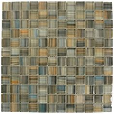 Glass tile. Blue, brown, tan beige.  A little bit of everything!