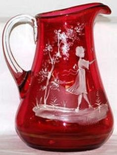 Pitcher, (Water), Child in Landscape, Cranberry, 8 inch. Cranberry Glassware, Fenton Glass, Drinking Glass, Glass Collection, Vintage Glassware, Antique Glass, Glass Ornaments, Colored Glass, Glass Art