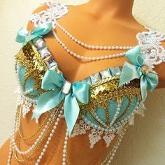 Aqua & Gold Rave Bra by TheLoveShackk on Etsy Rave Costumes, Festival Costumes, Halloween Party Costumes, Festival Outfits, Girl Costumes, Festival Fashion, Costume Ideas, Festival Gear, Rave Festival