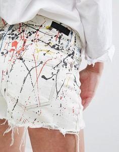 jeans customização respingado respingo tinta colorida