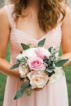 Soft pink and cream bridesmaid bouquet