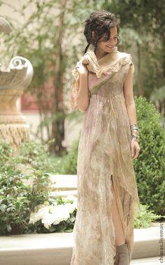 "Pattern to the ""Nimfalia"" Seamless Dress with Instructions Fairy Clothes, Art Textile, Nuno Felting, Felt Art, Boho, Refashion, Wearable Art, Wool Felt, Beautiful Outfits"