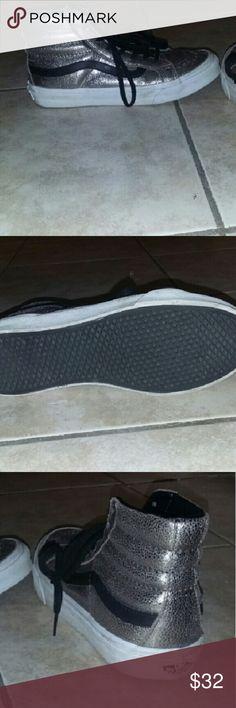 Vans shiny sneakers Silver and black sneakers Vans Shoes Sneakers