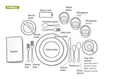 """How To Set A Formal Dinner Table """"Manners & Etiquette go hand in hand, but are not the same. Etiquette is a set of rules dealing with exterior form and Manners are an expression of inner character! Formal Dining Set, Formal Dinner, Fine Dining, Dining Sets, Table Setting Diagram, Cena Formal, Tables Tableaux, Dresser La Table, Table Place Settings"""