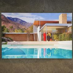 Another one of our favorite photos of the ladies at the Kaufmann House... Poolside Reflection by @fredbaby13 and @kellygolightly   Available at Just Modern. #palmsprings #poolsidegossip #kaufmannhouse