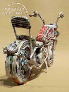 Papierowe plecionki: papierowa wiklina - motocykl