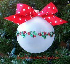 easy diy christmas ornaments, christmas decorations, crafts, seasonal holiday d cor Painted Christmas Ornaments, Noel Christmas, Holiday Ornaments, Christmas Bulbs, Christmas Decorations, Diy Ornaments, Dough Ornaments, Beaded Ornaments, Ball Ornaments
