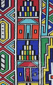 Stock Photo #1896R-2780, Colourful African Ndebele Bead Work - Full Frame  Grahamstown, Eastern Cape Province, South Africa