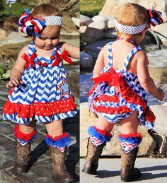 5940e1b79 Red White Blue Chevron Print Star Applique July 4th/Memorial Day Patriotic  Ruffled Swing Top