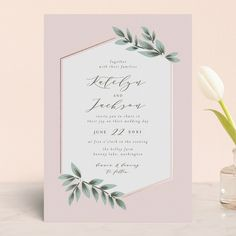 """Laurels Frame"" - Foil-pressed Wedding Invitations in Greenery by Itsy Belle Studio."