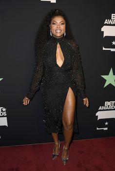 Taraji P. Henson at the 2019 BET Awards on the red carpet. Taraji P Henson Empire, Black Celebrities, Celebs, Celebrity Dresses, Celebrity Style, Black Pin Up, Bet Awards, Got The Look, Red Carpet Dresses