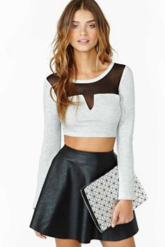 Love the skirt and crop top idea - not too much of this particular crop top though.