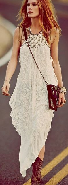 Free People White Asymmetrical Lace Maxi Dress by Fast Food & Fast Fashion