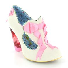 Irregular Choice 3801-34 Fairies In A Jar Womens Faux Suede Court Shoes in Cream & Pink at Scorpio Shoes