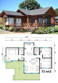 Vacation home KR Dream House Plans, Small House Plans, House Floor Plans, House In The Woods, My House, House Roof, Farm House, Small House Design, Home Design Plans