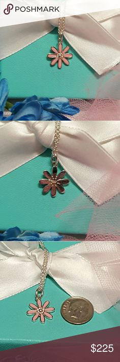 TIFFANY & CO. Pink Daisy Flower  Necklace Authentic Pink Enamel Daisy Flower Pendant Tiffany Chain 16in L .925 Sterling Silver Pouch Included Please See My Similar Listings Thanks For Looking :) Tiffany & Co. Jewelry Necklaces