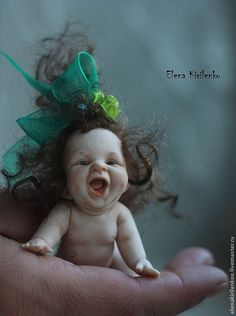 Купить Дульсинея - зелёный, Кукла-младенец, living doll
