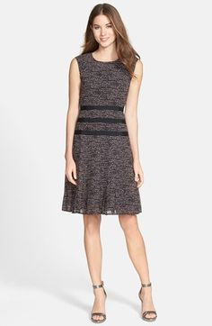 Halogen Contrast Trim Print Pleated Dress in black & pink marble print - professional fashion - office style #commandress
