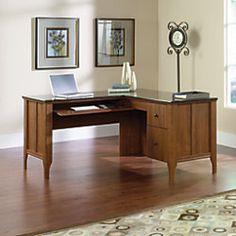 """Sauder Appleton Collection, Faux Marble Top L Desk, 30 3/4""""H x 60""""W x 59""""D, Sand Pear - $299.99"""