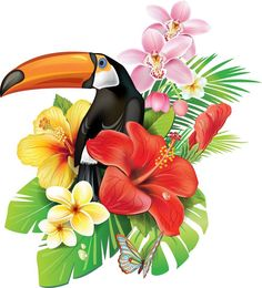 Vector Art : Tropical flowers and toucan Tropical Flowers, Art Tropical, Tropical Birds, Exotic Flowers, Tropical Plants, Cactus Flower, Purple Flowers, Hibiscus, Illustration Blume