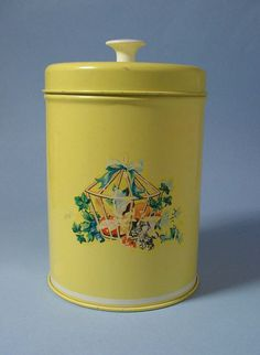 Shabby Chic Yellow Kitchen Canister by BewitchingVintage #home decor #vintage