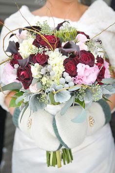 Traditional Winter Wedding Bridal Flowers