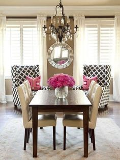 Good morning! This is a great example of TRANSITIONAL style. Notice the graphic-print chairs and modern table, mixed with a very traditional crystal chandelier. A beautiful blend!