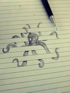 Pretty octopus grabbing the lines of a notebook #drawing #octopus #tentacles…