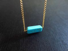 Turquoise, Bar, Gold/ Silver, Necklace | simplecrystal - Jewelry on ArtFire
