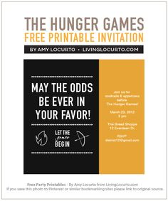 hunger games party invites, game party, free invitations printables, hunger games printables, hunger game printables, game parti, the hunger games party, bachelorette parties, party printables