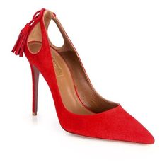 Aquazzura Forever Marilyn Cutout Suede Point Toe Pumps ($338) ❤ liked on Polyvore featuring shoes, pumps, red, suede pointed toe pumps, aquazzura shoes, red pumps, suede pumps and pointed toe shoes