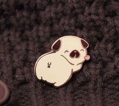 Pug Butt Enamel Pin by Cafe de Yumi #pinsandpatches