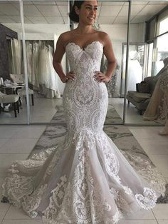 Backless Wedding Gown Roses - sweetheart lace mermaid wedding dress 2020 sexy backless wedding gowns gorgeous buttons back bride dress robe de mariee Strapless Lace Wedding Dress, Wedding Dress Necklines, V Neck Wedding Dress, Sweetheart Wedding Dress, Stunning Wedding Dresses, Lace Mermaid Wedding Dress, Backless Wedding, Wedding Dress Trends, Long Wedding Dresses
