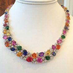 Boom~! Exquisite Oscar Heyman Jewelry sapphire, tsavorite garnet, & diamond necklace! Any takers?