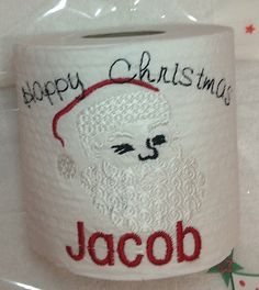 Embroidered Personalised Christmas Santa Novelty Loo Roll Toilet Paper £5.99