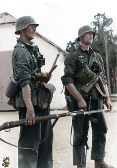 1941 Soviet Union - two infantrymen a Sergeant (left) with K 98 rifle with fixed bayonet.