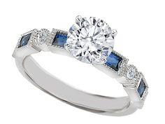 Diamond Engagement Ring Blue Sapphire Accents  - ES1211BS