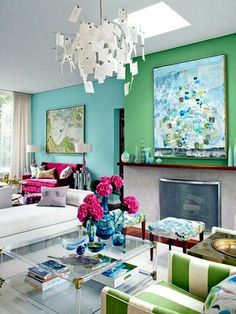 Blue and green accent walls make for a pretty and feminine look in Sarah Richardon's living room, but the fuchsia gives it punch. Description from pinterest.com. I searched for this on bing.com/images