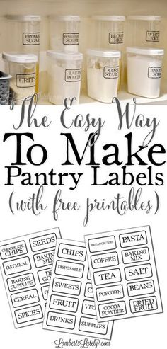 This is such a great DIY for how to make clear pantry labels.there are even free farmhouse-style printable labels included! She simply uses packing tape to make these without a vinyl cutter/Cricut. Very vintage looking! Kitchen Labels, Pantry Labels, Pantry Storage, Kitchen Pantry, Kitchen Storage, Diy Kitchen, Food Storage, Pantry Cupboard, Canning Labels